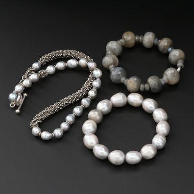 Beaded Cultured Pearl, Labradorite, and Corundum Jewelry