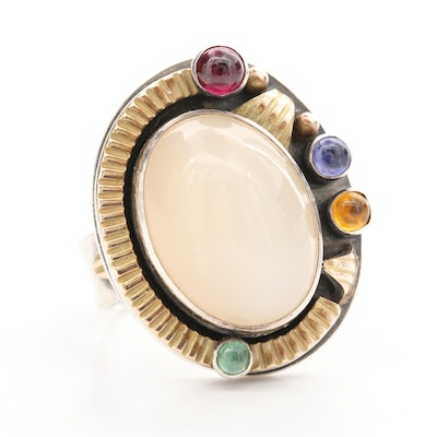Risher Miranda Sterling Silver Gemstone Ring with 14K Yellow Gold Accents