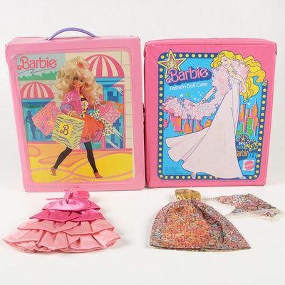 Barbie Doll Clothing and Accessories in Barbie Carrying Cases, circa 1980