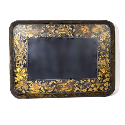 Tole Style Hand-Painted Wooden Tray with Floral Motif, Mid 20th Century