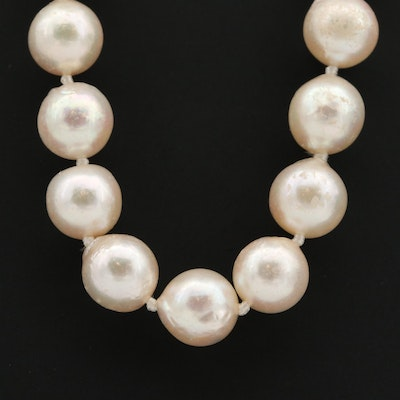 18K White Gold Cultured Pearl and Diamond Necklace