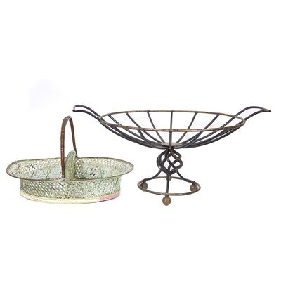 Metal Fruit Stand with Pierced Metal Divided Basket, Vintage