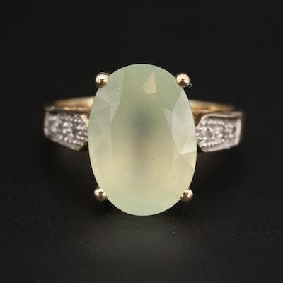 14K Yellow Gold Prehnite and Diamond Ring