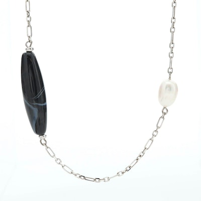 Sterling Silver Cultured Pearl and Onyx Never Ending Necklace
