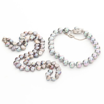 Sterling Silver Cultured Pearl Necklace and Bracelet