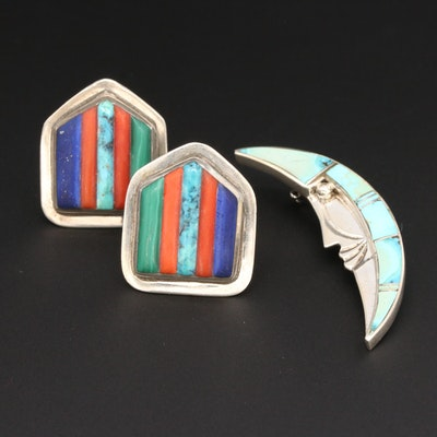 Marie Tsosie Navajo Diné Turquoise Moon Brooch and Southwestern Style Earrings