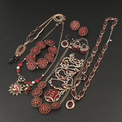 Bracelets, Earrings and Necklaces Featuring Glass and Rhinestones