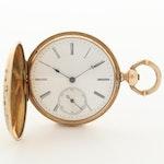 Antique Pateck & Co.14K Gold and Enamel Hunter Case Pocket Watch