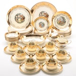 Sabin Crest-O-Gold Encrusted Ceramic Dinnerware, Early/Mid 20th Century