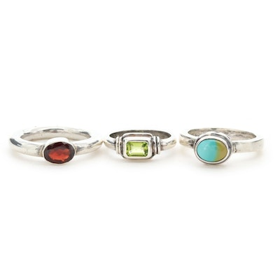 Sterling Silver Peridot, Garnet and Turquoise Rings