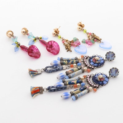 Assortment of Whimsical Hand-Made Fabric and Glass Dangle Earrings