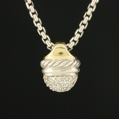 David Yurman 18K Yellow Gold Diamond Pavé Acorn Pendant Necklace