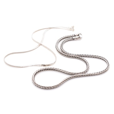 Sterling Silver Wheat and Herringbone Chain Link Necklaces
