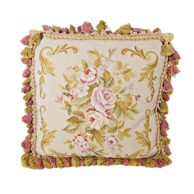 Rose Needlepoint Accent Pillow with Tassels