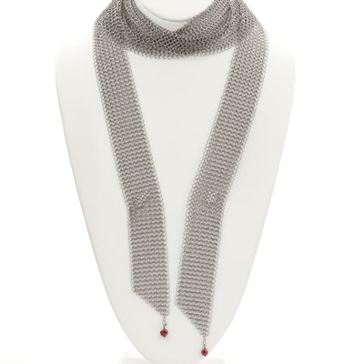 Chainmail Mesh Sautoir Necklace With Cultured Pearl Accents