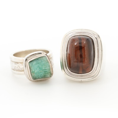 Barry Brinker 950 Silver Emerald Crystal and Red Tiger's Eye Rings