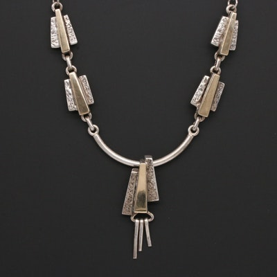 Ervin Hoskie Navajo Diné Sterling Silver Necklace with 14K Yellow Gold Accents