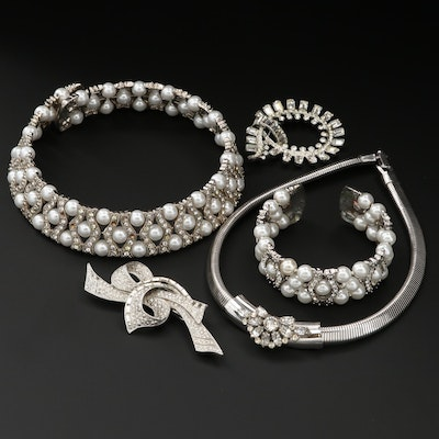 Assorted Glass Crystal and Imitation Pearl Jewelry Including Coro Necklace