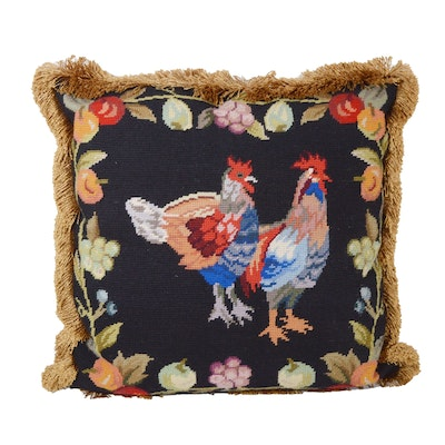 Rooster Needlepoint Accent Pillow with Fringe