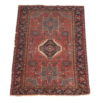 4'8 x 6'5 Hand-Knotted Persian Karaja Wool Rug