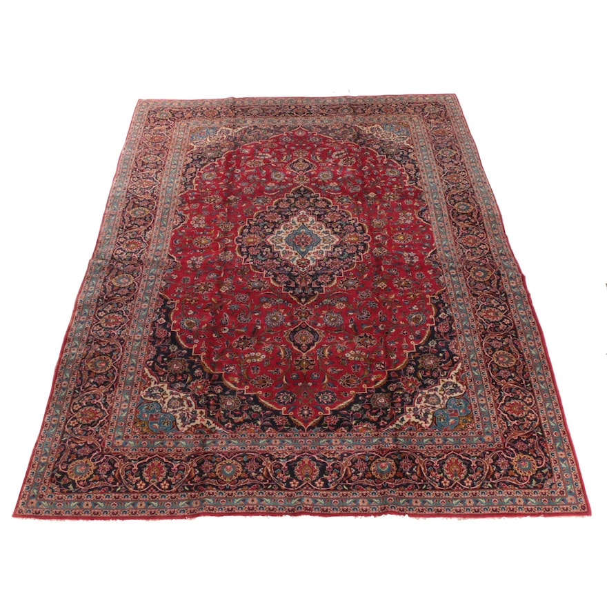 9'11 x 14'9 Hand-Knotted Persian Kerman Room Sized Wool Rug