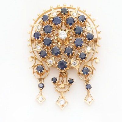 Vintage 14K Yellow Gold Diamond and Sapphire Converter Brooch