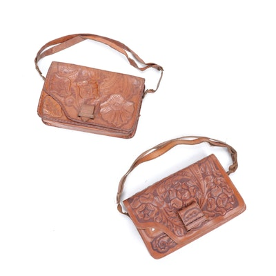 Hand-Tooled Leather Flap Front Handbags, Vintage