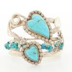Signed Bill Kirkham Southwestern Sterling Silver Turquoise Cuff Bracelet