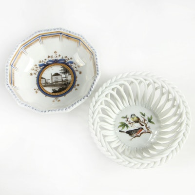 "Herend ""Rothschild Bird"" Open Weave Basket with Nymphenburg Porcelain Bowl"