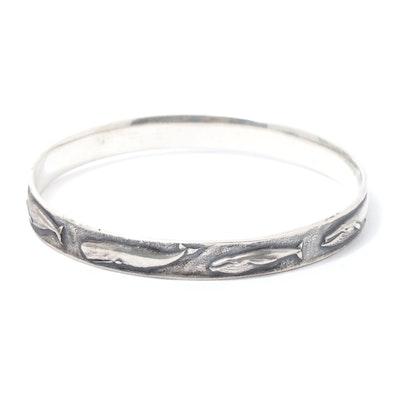 James Avery Sterling Silver Whale Motif Bangle Bracelet