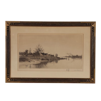 John O. Anderson Drypoint Etching of River Scene, 19th Century