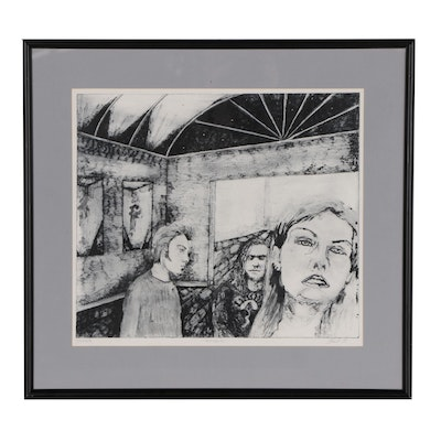 Aquatint Etching of Interior with Figures