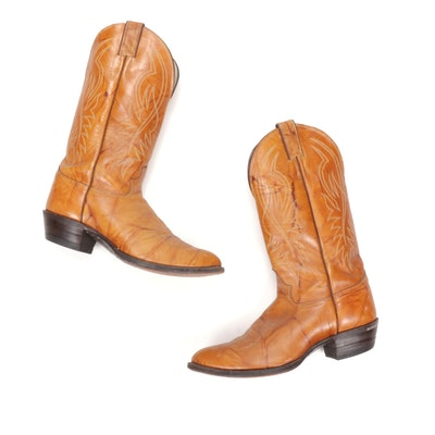 Justin Marbled Deerlight Leather Cowboy Boots with Stitched Detailing