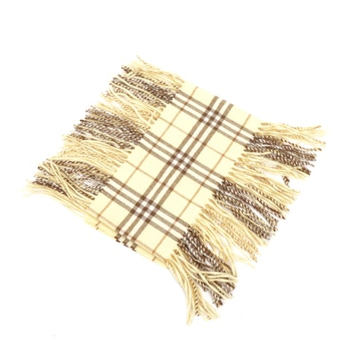 Burberry London Yellow and Brown Check Cashmere Fringed Scarf, Made in England