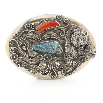 Turquoise and Coral Bear and Feather Belt Buckle