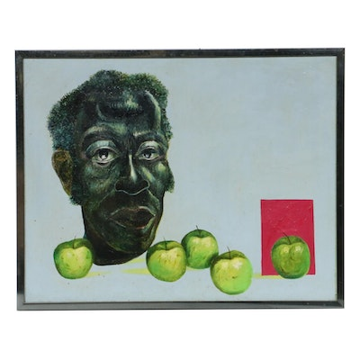 """Roman E. Johnson Oil Painting """"Self-Portrait with Green Apples"""""""
