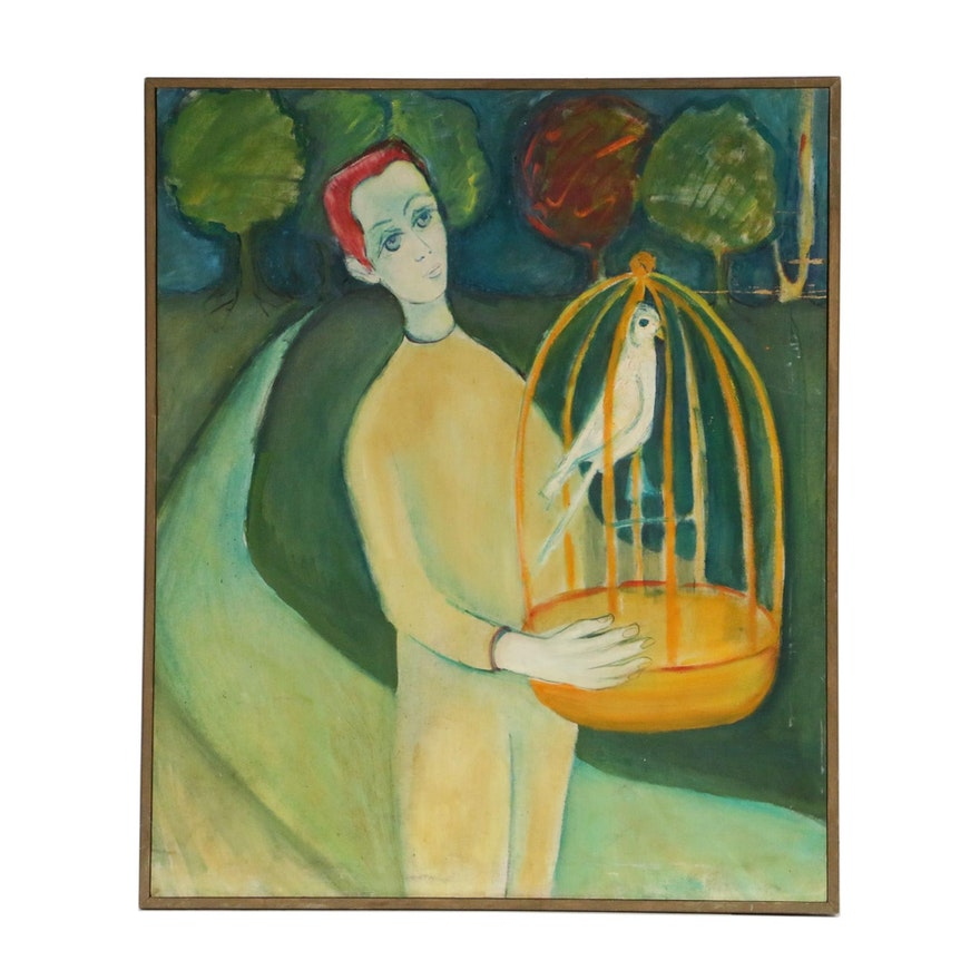 Fauvist Style Figural Oil Painting