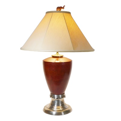 Painted Metal Table Lamp with Carved Elephant Finial, Late 20th Century