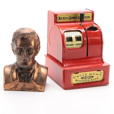 Uncle Sam's Metal Cash Register and Abraham Lincoln Still Bank, 1950s