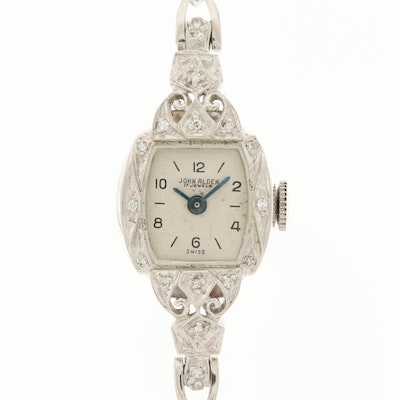 Vintage John Alden 14K White Gold and Diamonds Stem Wind Wristwatch
