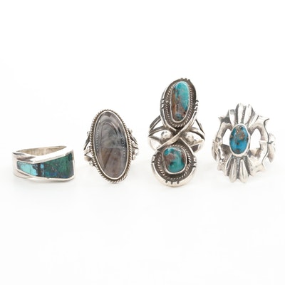 Southwestern Style Sterling Silver Turquoise and Gemstone Rings