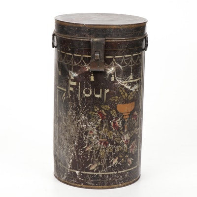Toleware Latched Flour Tin, Antique