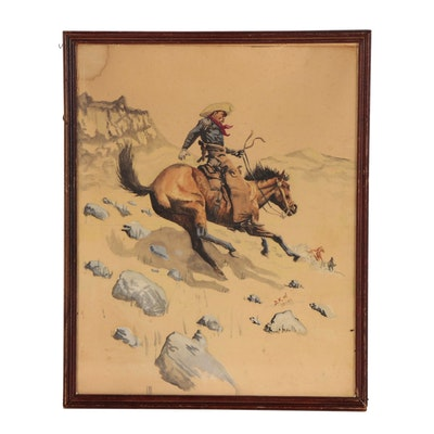 """Watercolor Painting after Frederic Remington """"The Cowboy"""", 1942"""