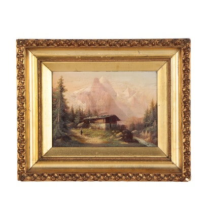 Continental Oil Painting of Alpine Landscape with Swiss Chalet