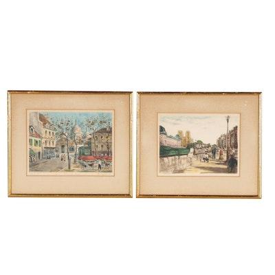 Parisian Street Scene Intaglio Prints