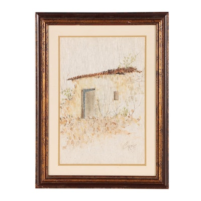 Watercolor Painting of Adobe Dwelling
