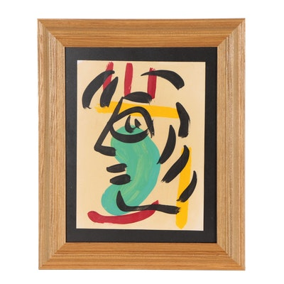 Peter Keil Abstract Acrylic Painting of Face in Profile
