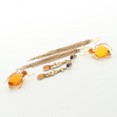 Amber Spider Brooches, Tassel Earrings and Sterling Amethyst Drop Earrings