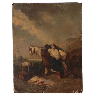 Genre Scene Oil Painting after Eugène Isabey, 19th Century