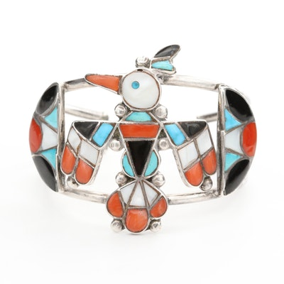 "Southwestern Style Black Onyx, Mother of Pearl and Turquoise ""Thunderbird"" Cuff"
